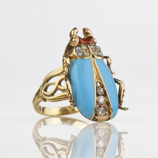 Art Nouveau Enameled Diamond Pearl Beetle Ring