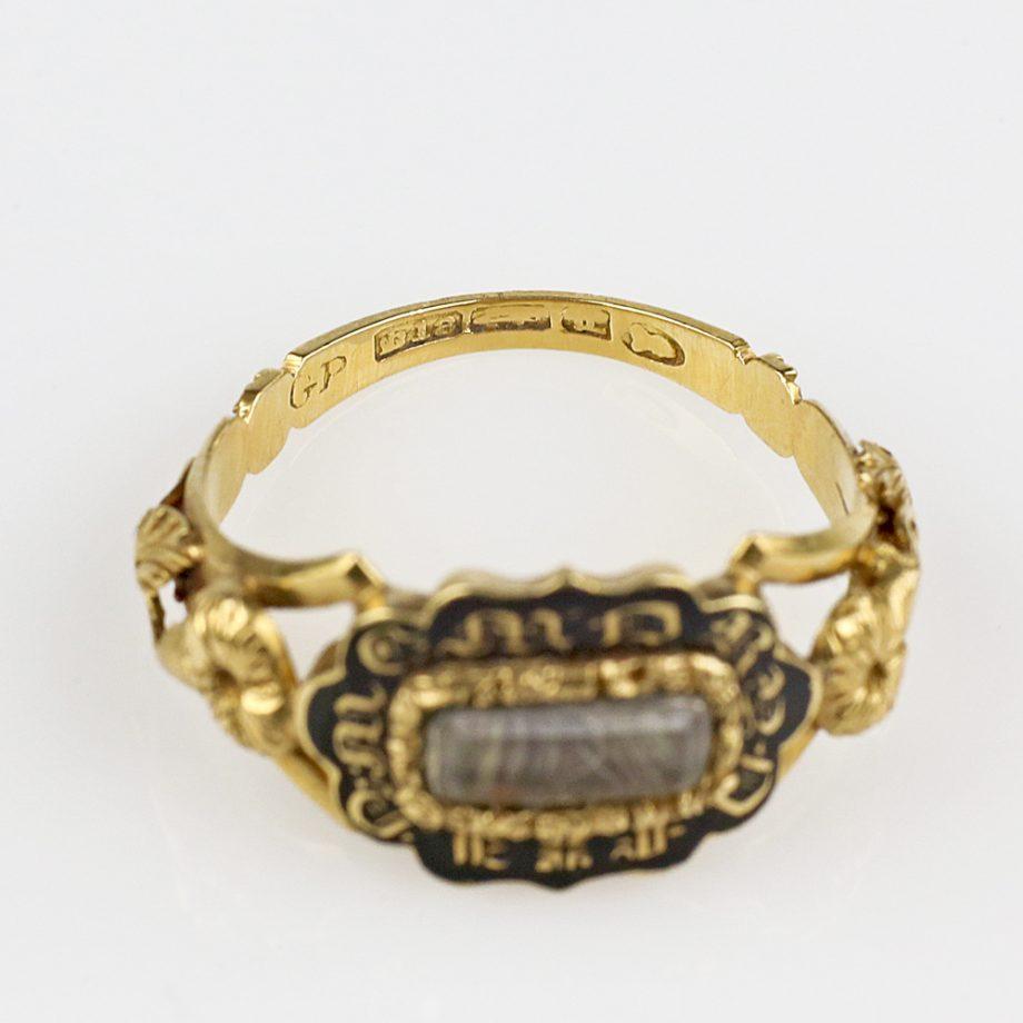 1836 Georgian Mourning Ring 18k Gold Morning Glory