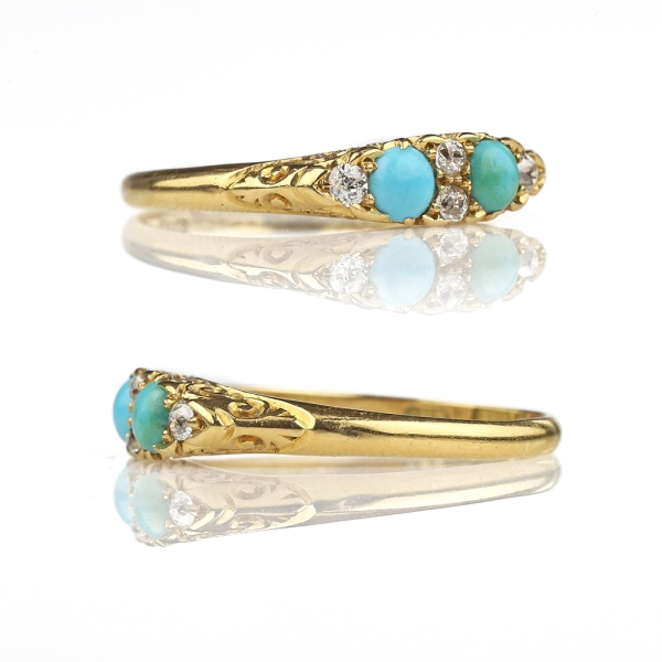 Antique Ring - 1898 Turquoise Diamond Victorian Ring 18k Gold Hallmarked, Antique Turquoise Ring Persian Turquoise Old European