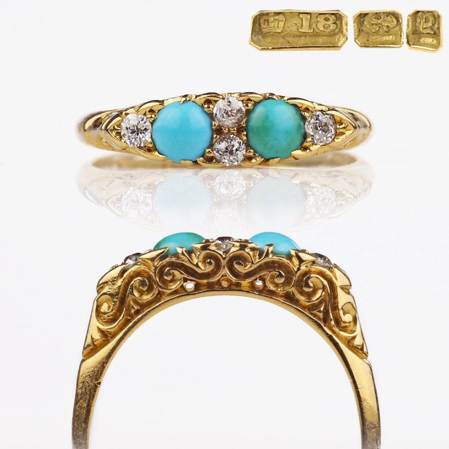 1898 Victorian Turquoise Diamond Ring