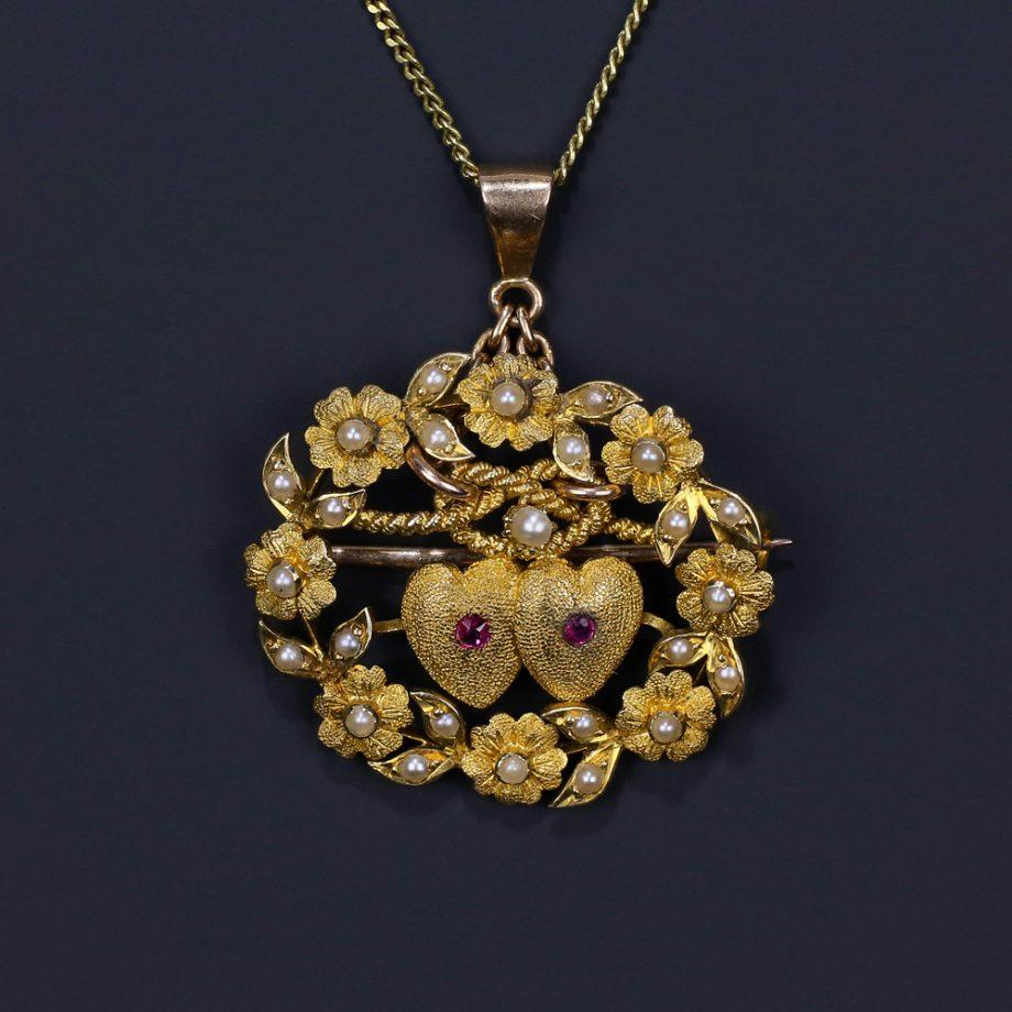 Victorian 18k Lovers' Knot Double Heart Pendant