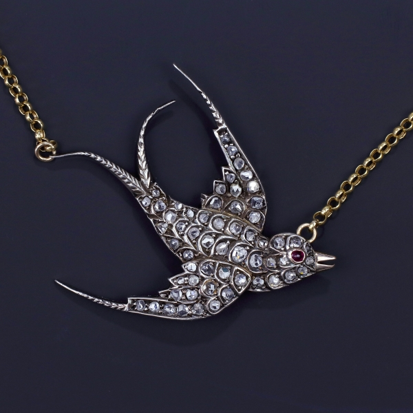 Late Victorian Rose Cut Diamond Swallow Pendant