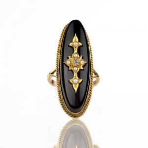Victorian Onyx Pearl Diamond Mourning Ring