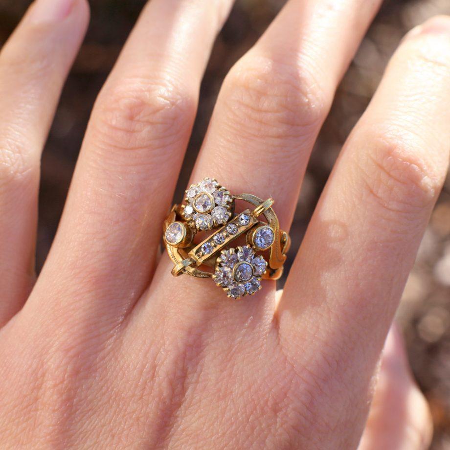 1900s Antique 14k Old Cut Diamond Flower Cluster Ring