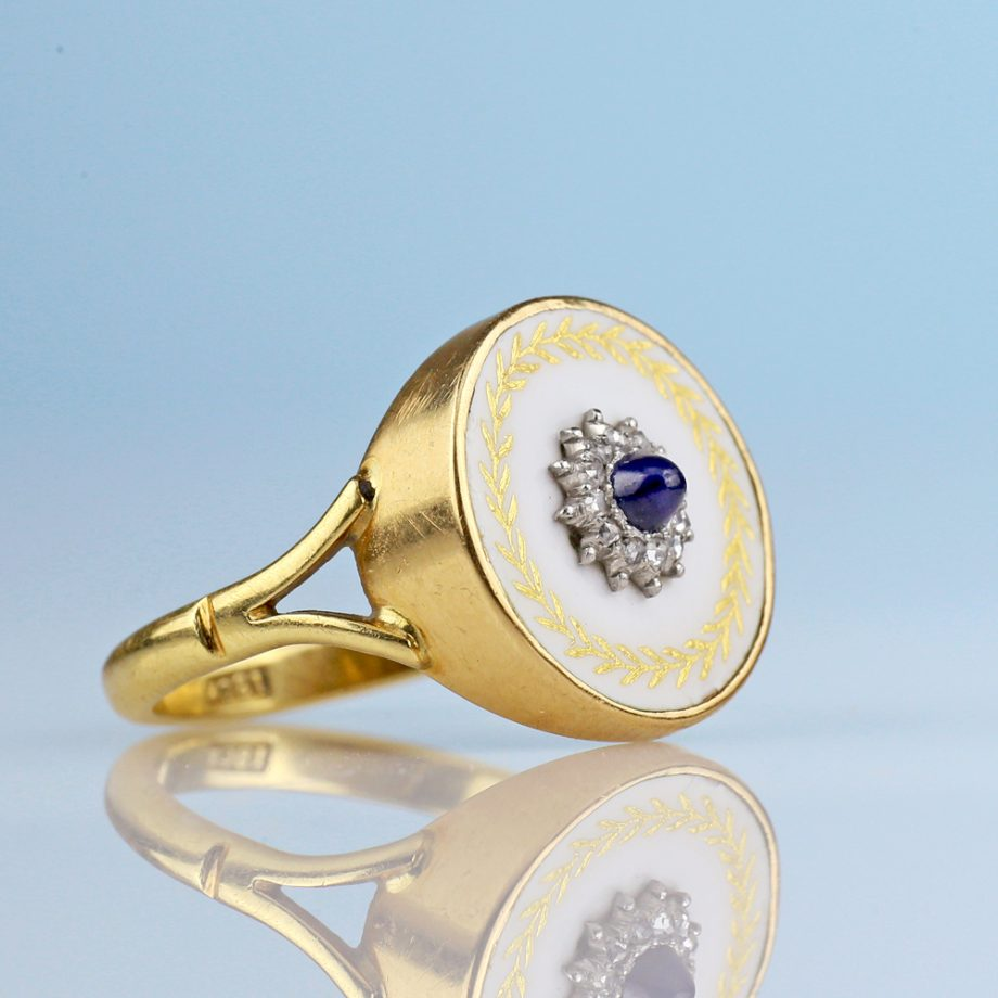 Belle Époque Sapphire Diamond White Enamel Ring