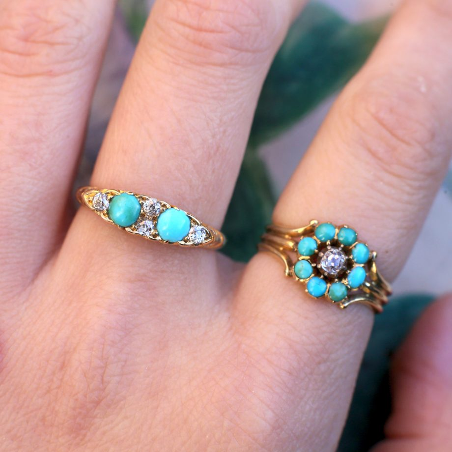 Early Victorian 15k Turquoise Diamond Ring