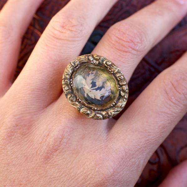 Georgian Scottish Thistle Citrine Conversion Ring