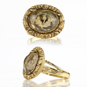 Georgian Scottish Thistle Citrine Conversion Ring