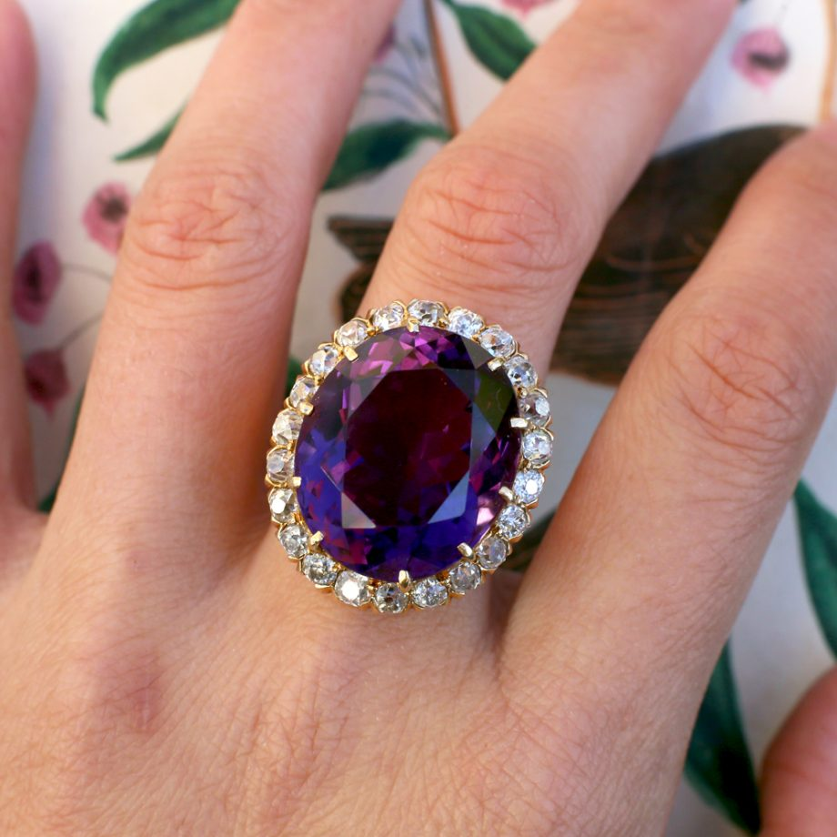 c. 1900 Victorian - Edwardian Siberian Amethyst Diamond Halo Ring