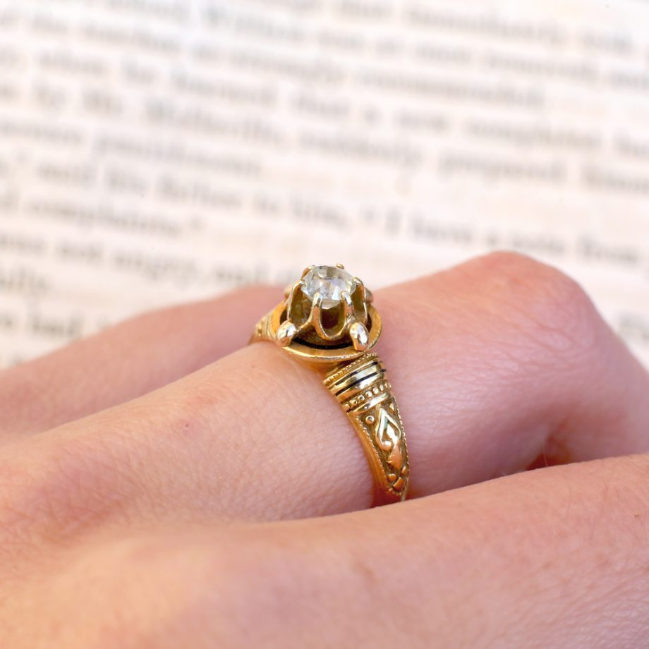 1880s Victorian Old Mine Cut Diamond Solitaire Ring