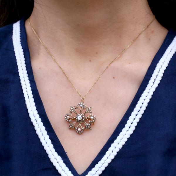 Antique Edwardian Old Cut Diamond Pearl Pendant
