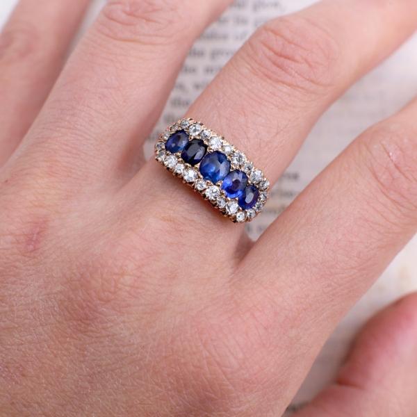 Victorian Half Hoop Diamond Halo Sapphire Ring