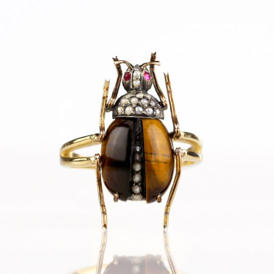 Art Nouveau Tiger's Eye Beetle Conversion Ring