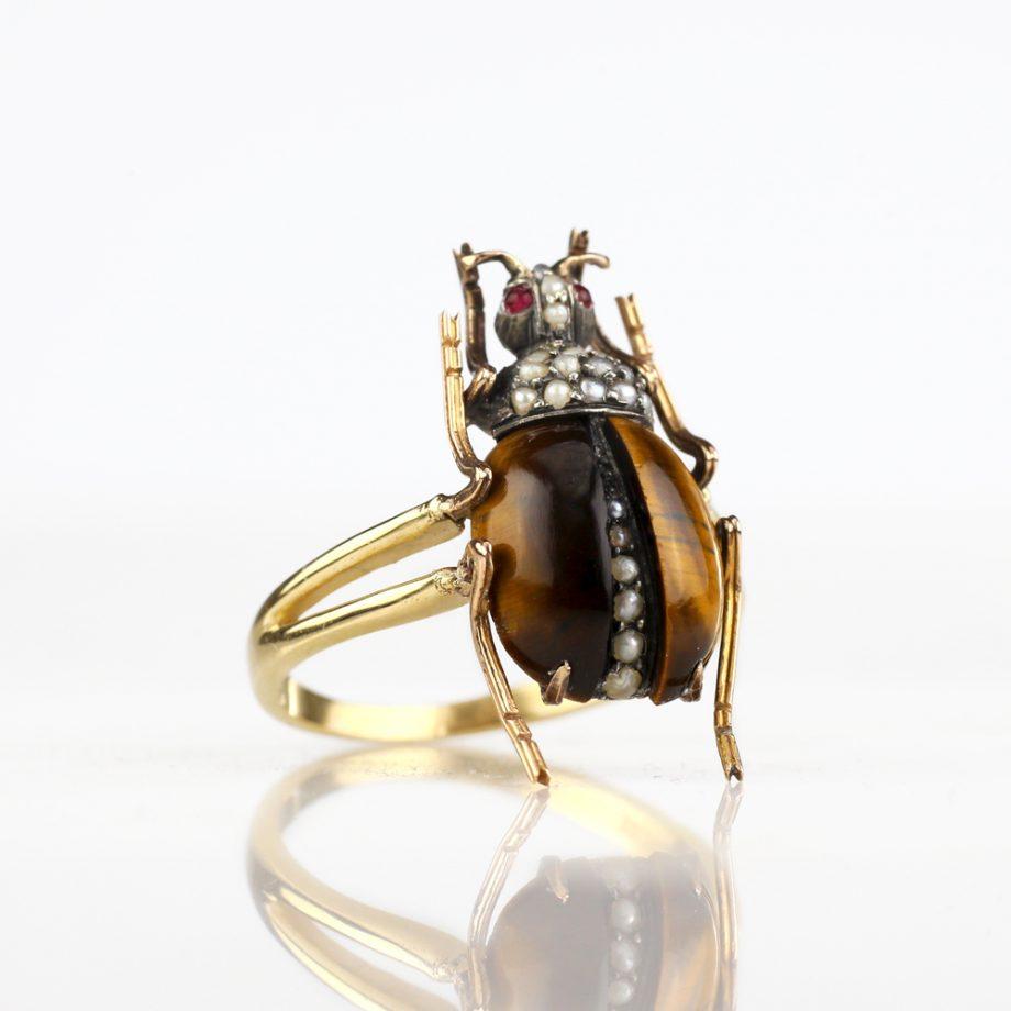 Art Nouveau Tiger's Eye Beetle Conversion Ring
