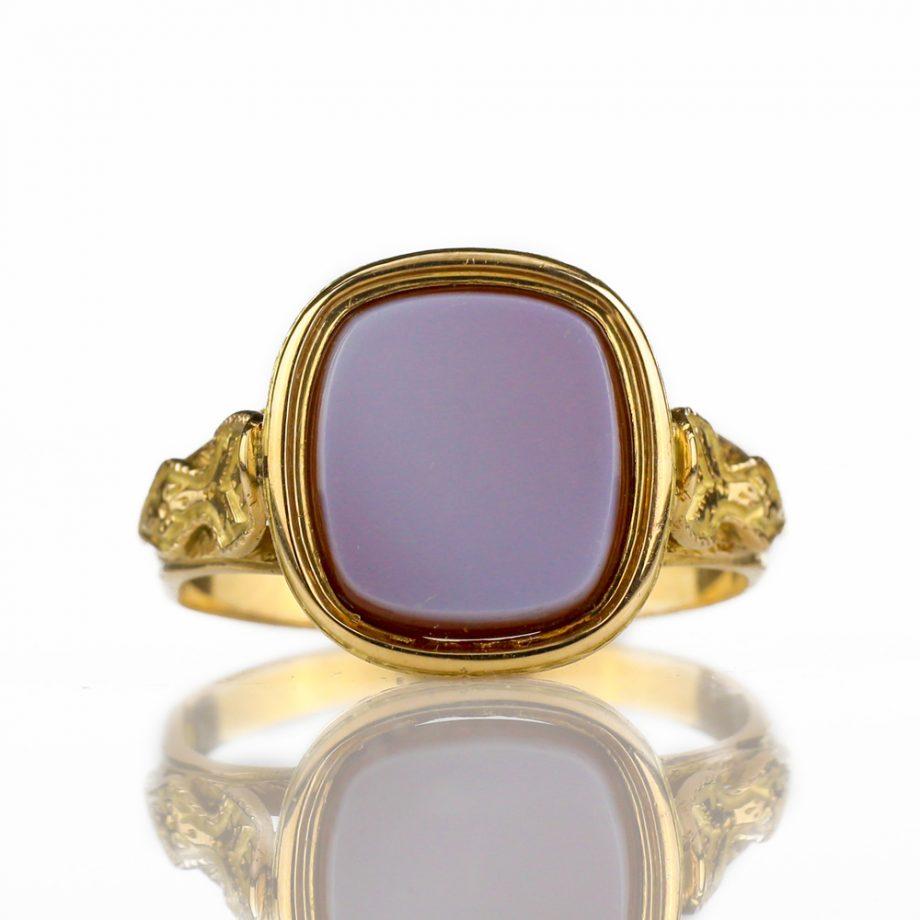 1880s Antique Victorian Sardonyx Signet Ring
