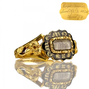 1836 Georgian Mourning Ring 18k Gold