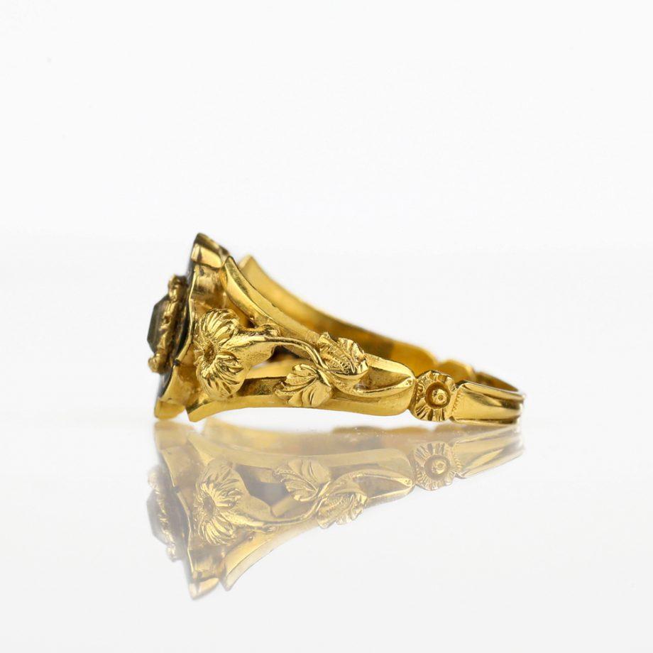 1836 Georgian Mourning Ring 18k Gold