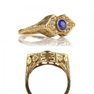 1910-20s Antique Reticulated Floral Sapphire Ring