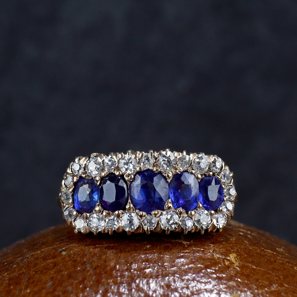 Victorian Half Hoop Sapphire Diamond Ring
