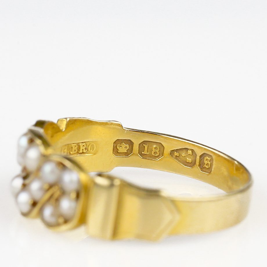 1881 Victorian Pearl Buckle Ring