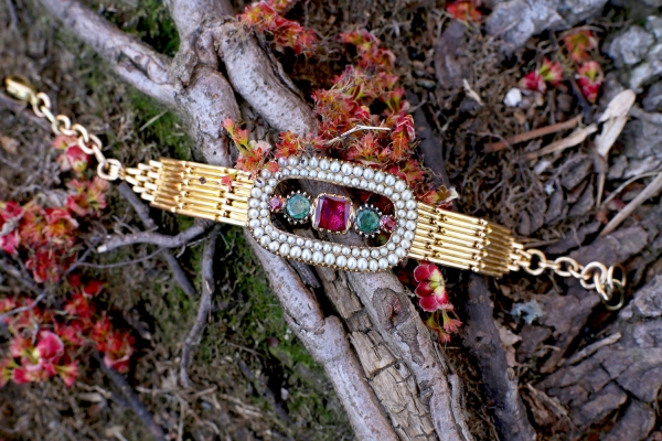 Georgian Tourmaline Pearl Conversion Bracelet