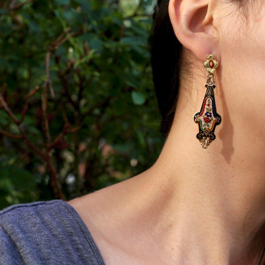 1830-40s Victorian 14k Guilloche Enamel Earrings