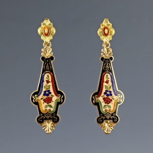 1830-40s Victorian 14k Guilloche Enamel Earrings
