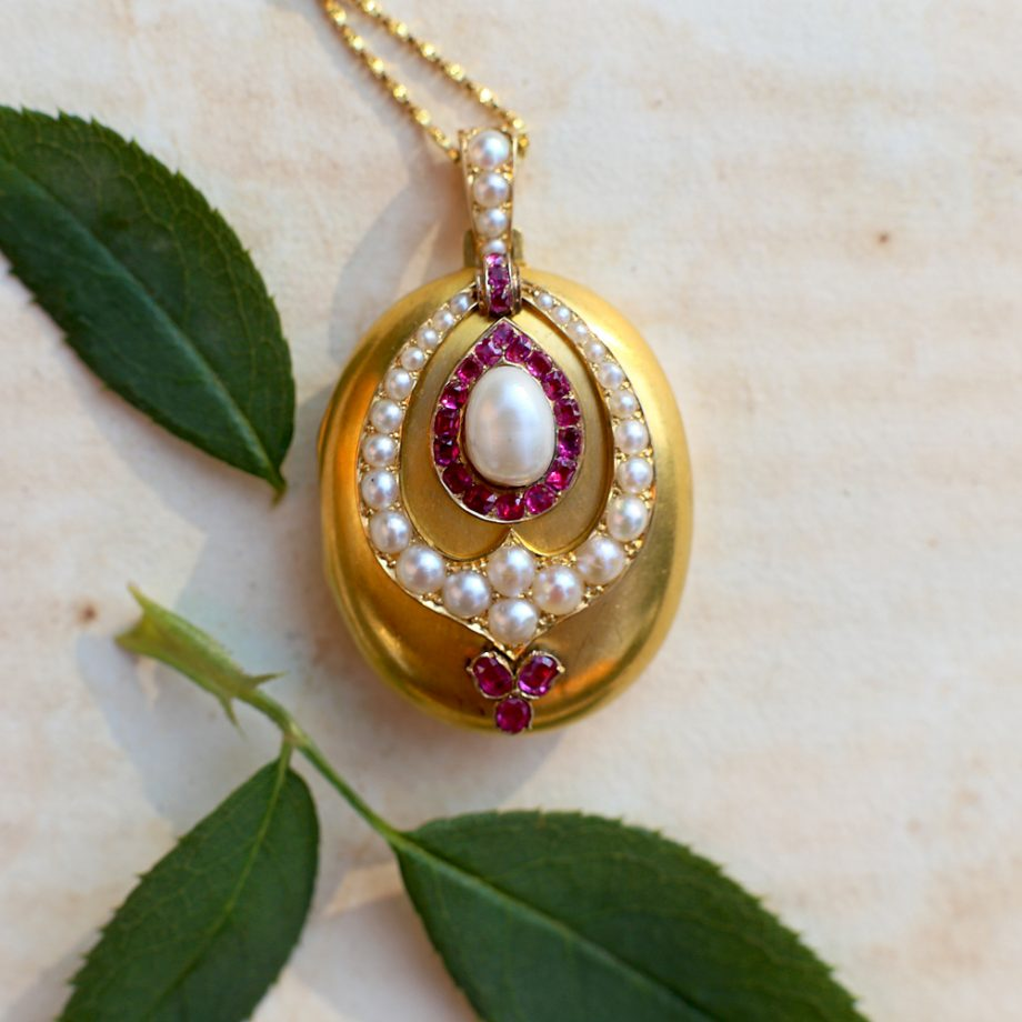 1860s Victorian 18k Gold Ruby Pearl Locket