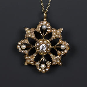 Antique Edwardian Old Cut Diamond Pearl Pendant