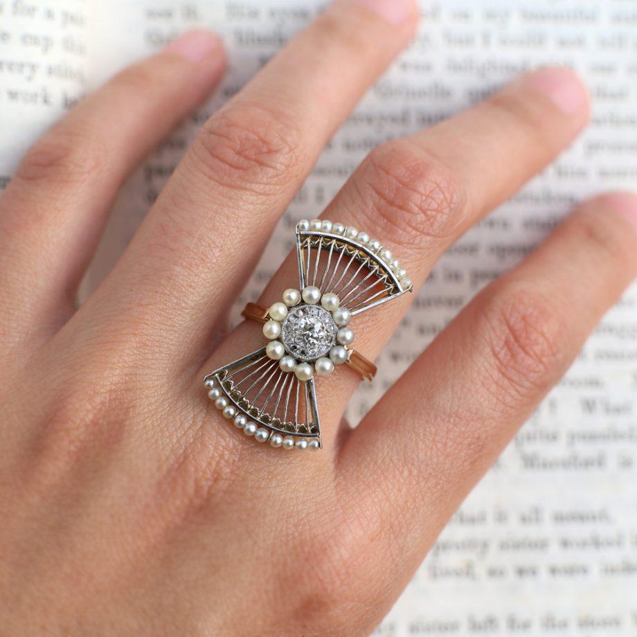 Edwardian Pearl & Diamond Fan Ring