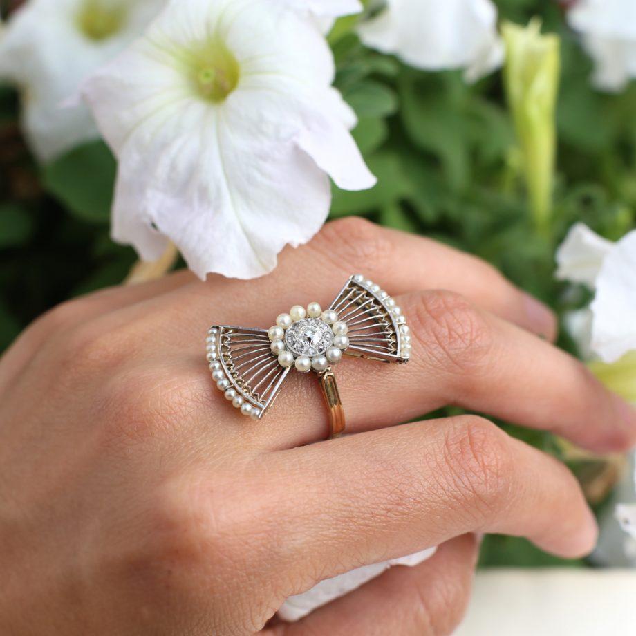 Antique diamond pearl ring