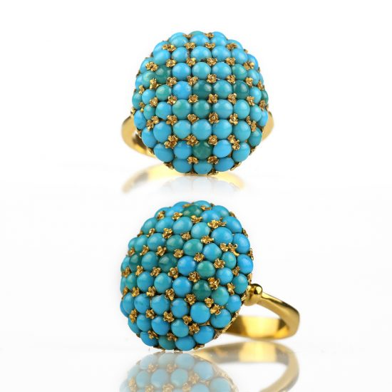 Edwardian 18k Persian Turquoise Bombe Ring