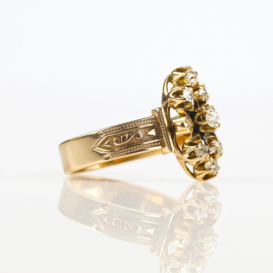 Victorian Old Cut Diamond Cluster Navette Ring
