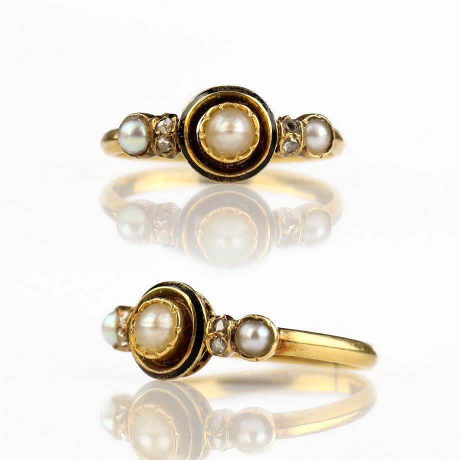 French Napoleon III Pearl Diamond Half-Hoop Ring