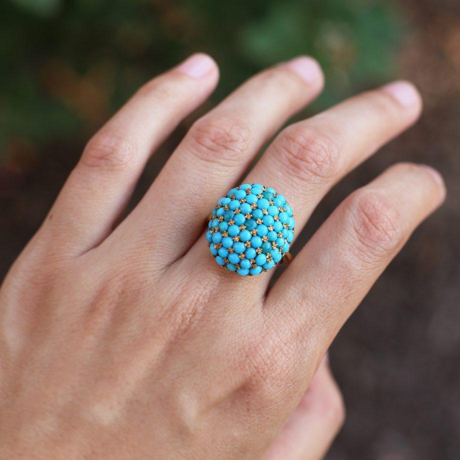 Edwardian 18k Persian Turquoise Bombe Ring