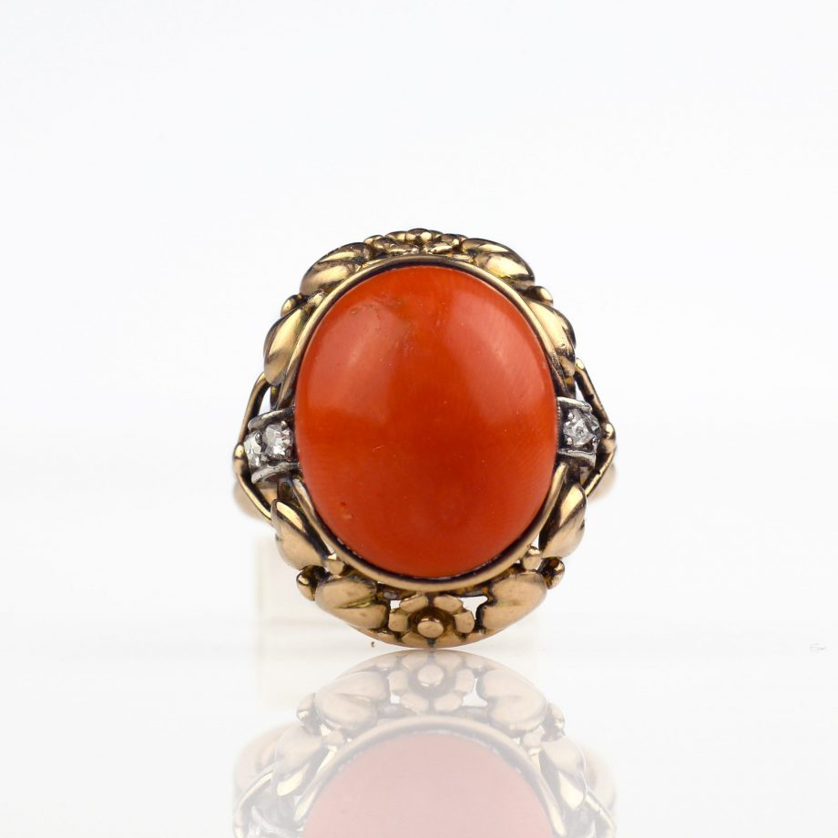 1930s German Arts and Crafts Coral Ring