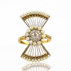 Edwardian Pearl & Diamond Fan Ring