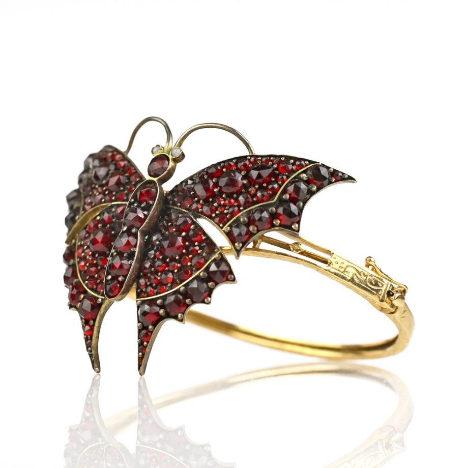 Victorian Bohemian Garnet Butterfly Bracelet