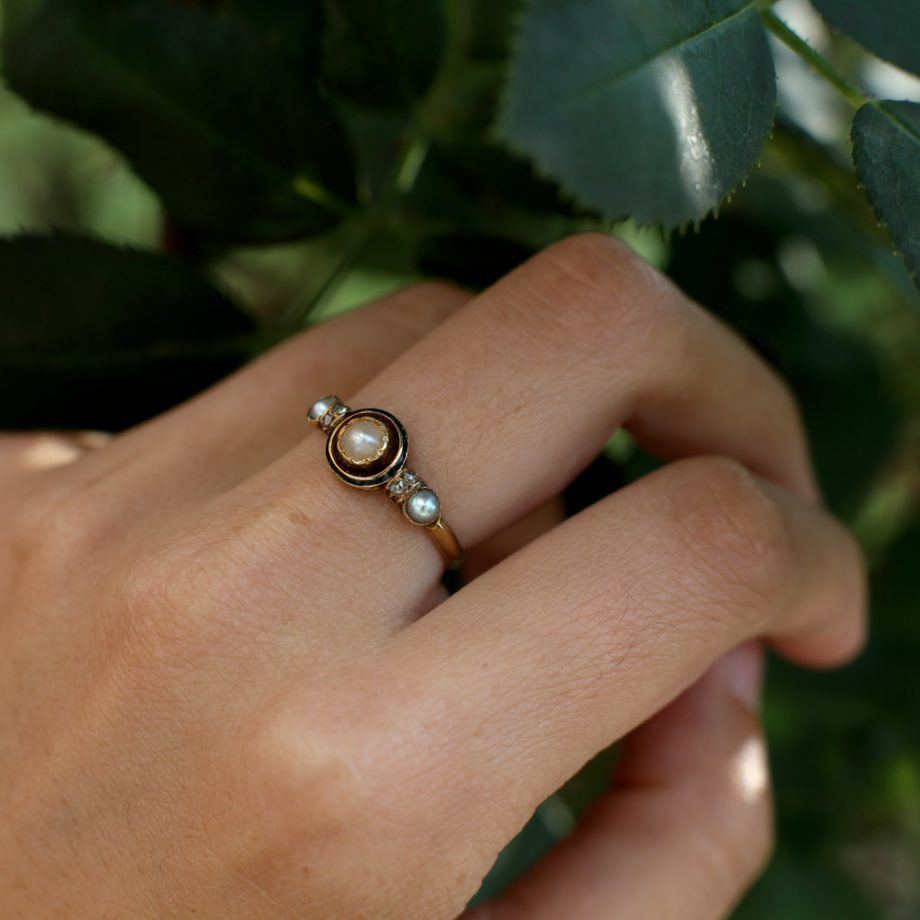 Antique Ring - French Napoleon III 18k Gold Pearl Rose Cut Diamonds Stackable Half Hoop Ring, Antique Jewelry Victorian Ring Black