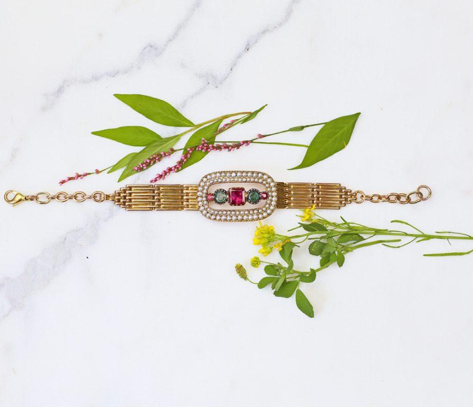 Georgian Tourmaline Pearl Conversion Bracelet