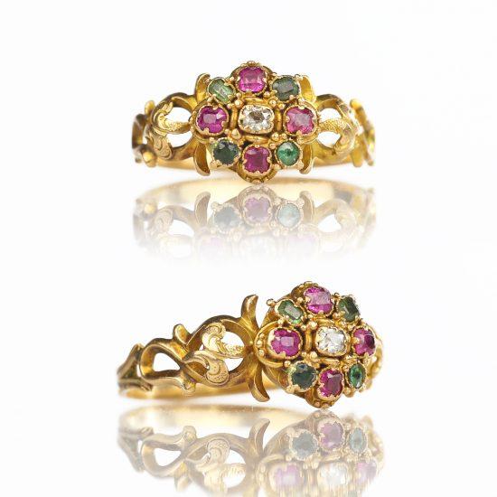 1840s Victorian 15k Spinel Tourmaline Diamond Ring