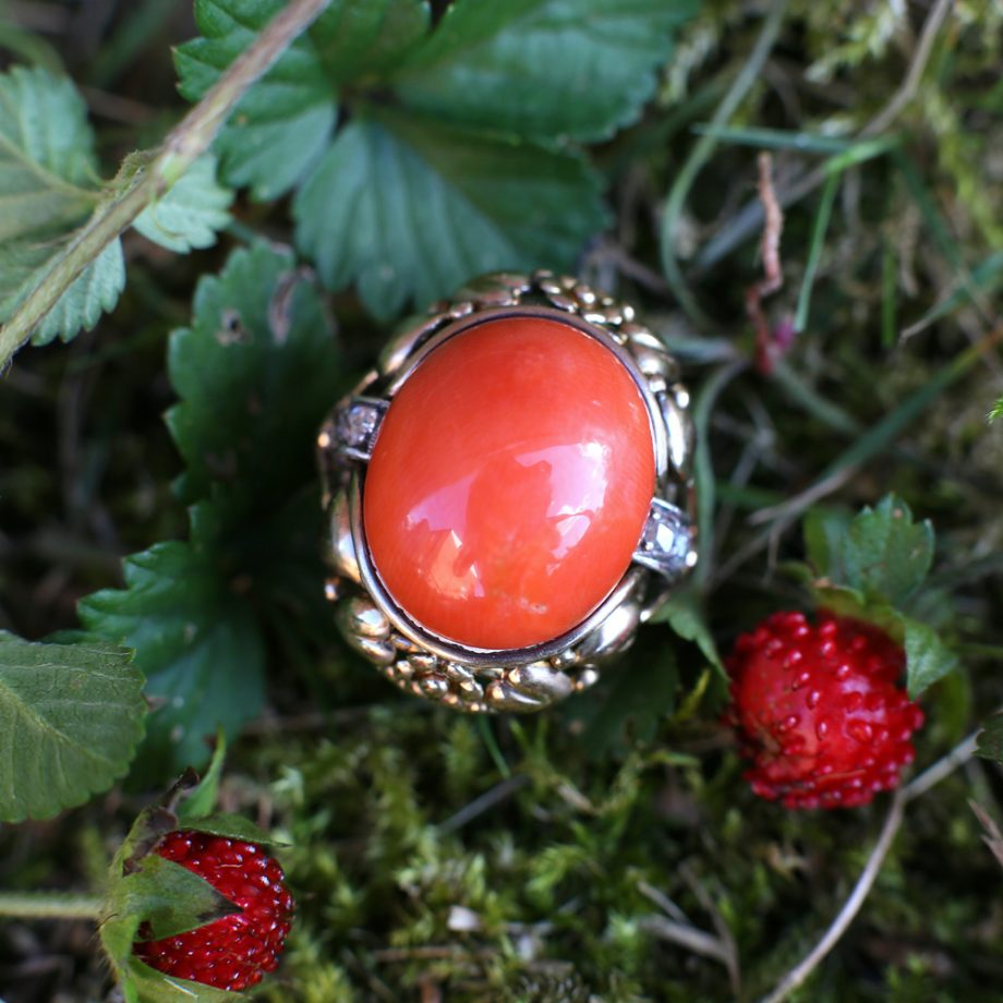 Antique Ring - 1930s German Arts and Crafts Ring Mediterranean Red Coral 14k Gold Rose Cut Diamonds, Antique Jewelry Art Nouveau