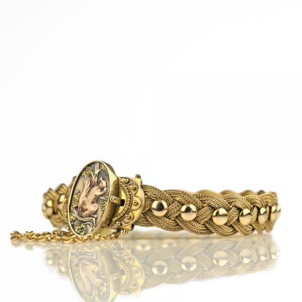 Antique Bracelet - 1887 Aesthetic Movement Victorian Bracelet 14k Gold, Antique Gold Bracelet Squirrel Etruscan Revival Braided Studded