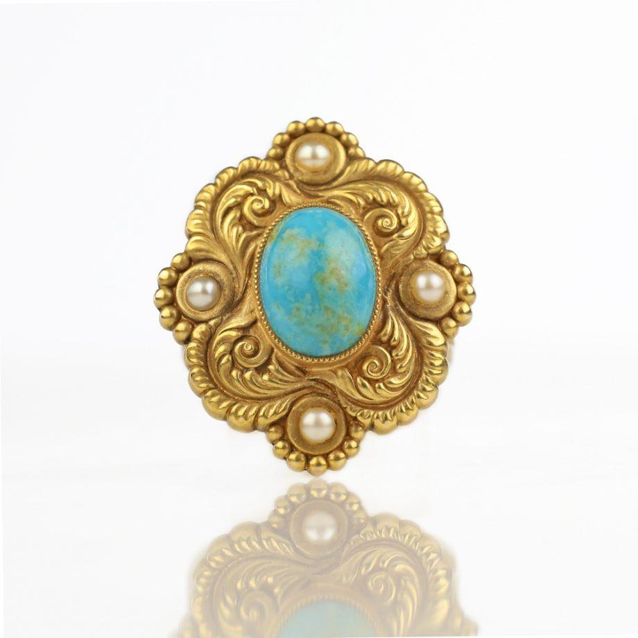 1900s Riker Bros Art Nouveau 14k Turquoise Conversion Ring