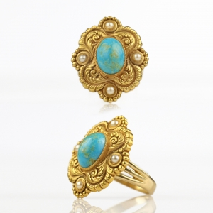 1900s Riker Bros Art Nouveau 14k Turquoise Conversion Ring