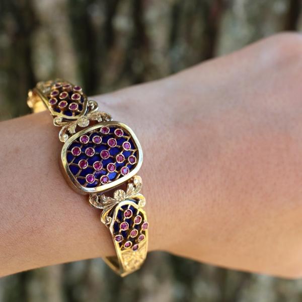 1940s Franconeri 18k Blue Enamel Ruby Bracelet