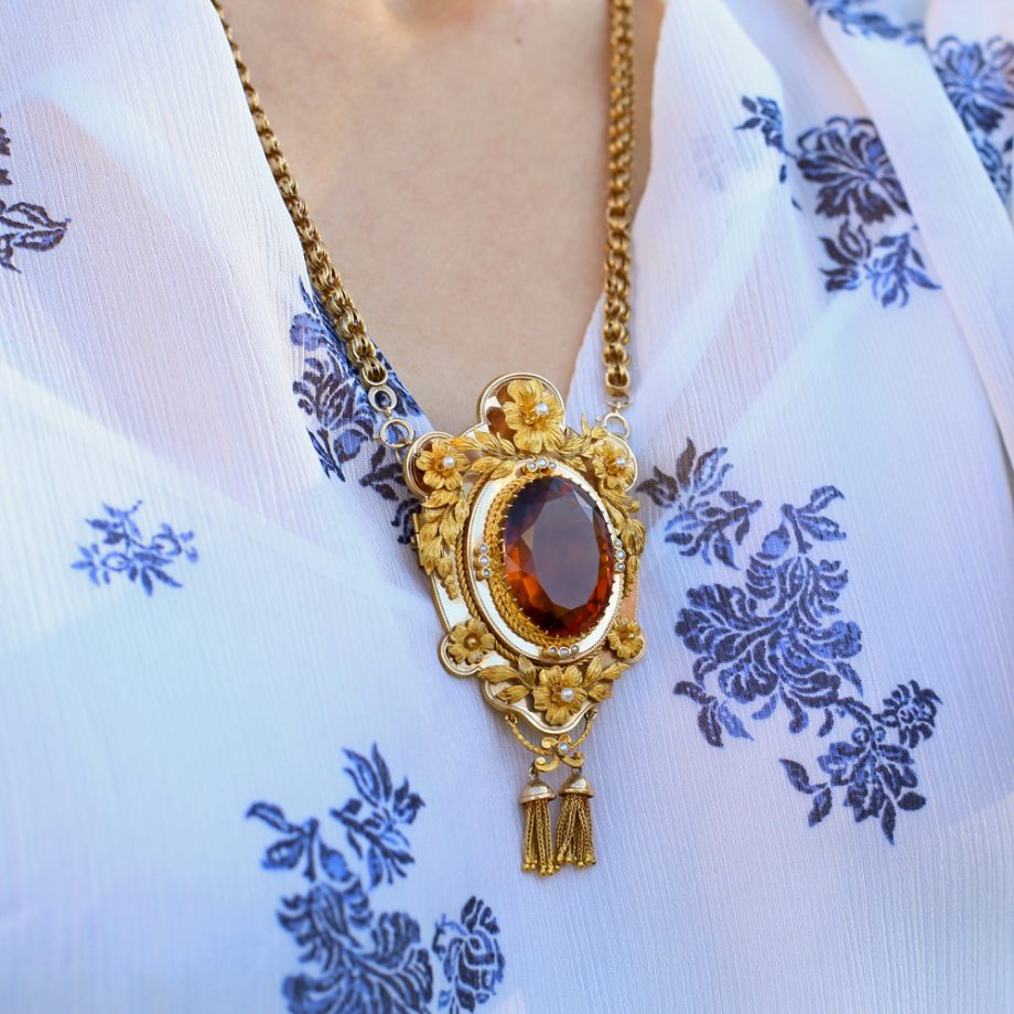 Victorian Madeira Citrine Pendant Necklace with Floral Garlands 14k Gold
