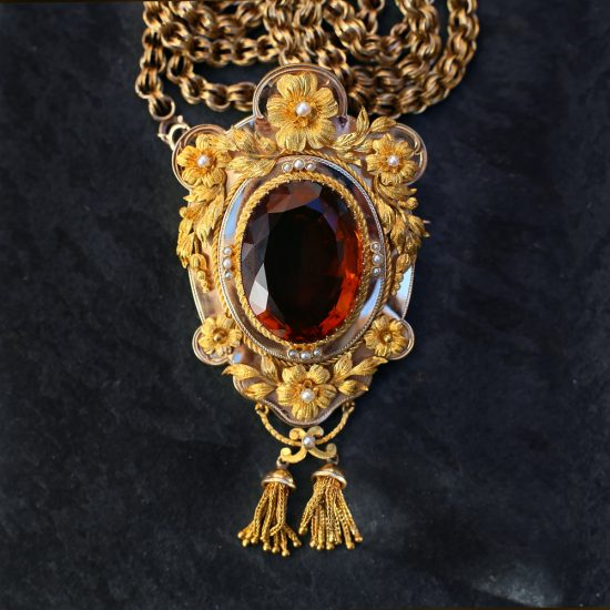 Victorian Madeira Citrine Pendant Necklace with Floral Garlands