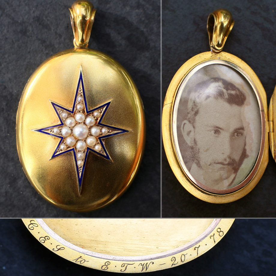 Antique Locket - 1878 Victorian 'North Star' 15k Gold Locket, Natural Pearls Blue Enamel, Antique Jewelry Victorian Jewelry Victorian