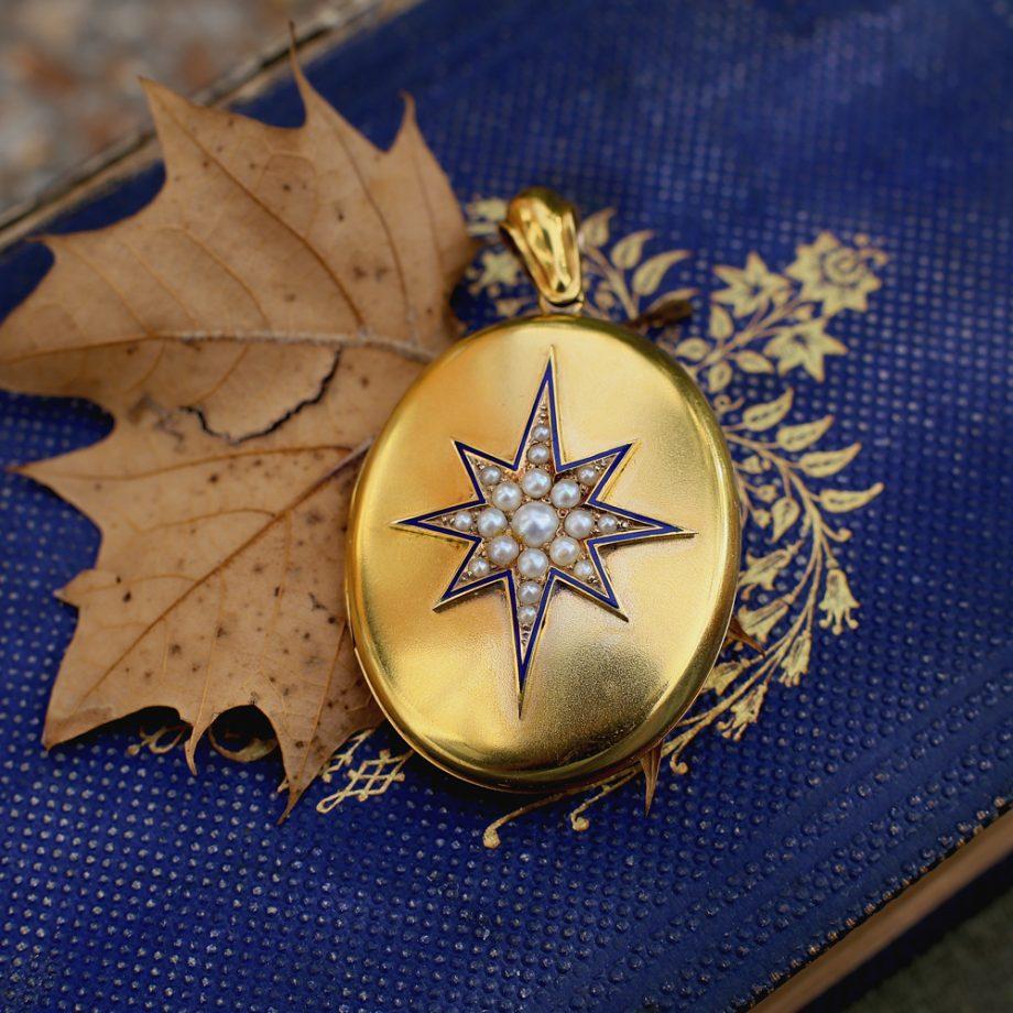 1878 Victorian 'North Star' 15k Gold Locket